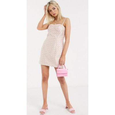 ステファニア ヴィアダニ Stefania Viadani レディース ワンピース ミニ丈 ワンピース・ドレス Stefania Vaidani linda check mini dress in pink ピンク