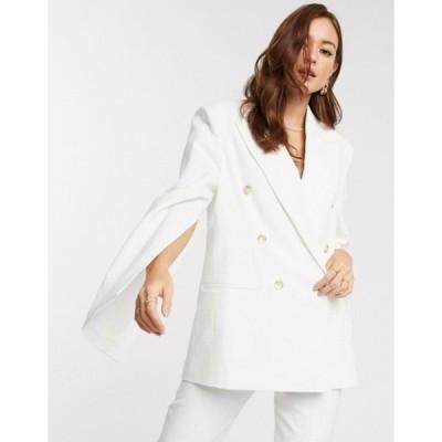 エイソス レディース ジャケット・ブルゾン アウター ASOS DESIGN split sleeve suit blazer in texture