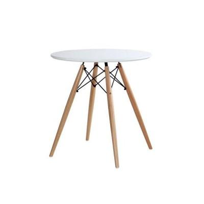 SEMI-ST ウッドレッグ ラウンドテーブル 70cm 丸テーブル カフェテーブル 円形 DSW ST-1504-NA (ホワイト)