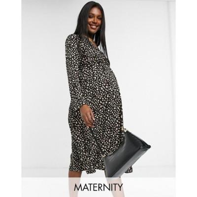 ママライシアス レディース ワンピース トップス Mamalicious Maternity wrap midi dress in black smudge print