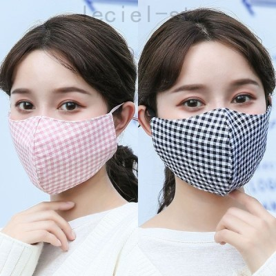 マスク 綿 小格子模様 大人用 女性 3枚入 秋冬 厚いデザイン 防寒 保温 立体 調節可能 防塵 排気ガスを防ぐ かわいい ファッション