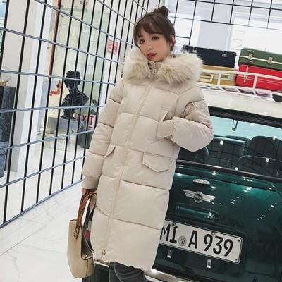 レディース 2019新作 大きいサイズ ダウンジャケット ファー フート付き ロング 中綿コート 厚手 20代 30代 40代 防寒 暖かい 通学 通勤 可愛い 冬アウター