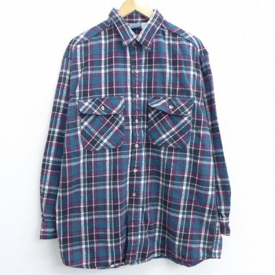 XL/古着 長袖 ヘビー フランネル シャツ ロング丈 大きいサイズ コットン 緑他 グリーン チェック 21mar10 中古 メンズ トップス