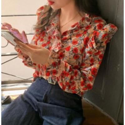 韓国 ファッション レディース ブラウス トップス 花柄 Vネック フリル レース 長袖 ゆったり ヴィンテージ レトロ 大人可愛い