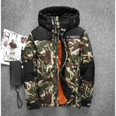 ダウンコートメンズ迷彩ジャケットハイネックフード付きブルゾン大きいサイズコート冬アウター無地防風防寒着