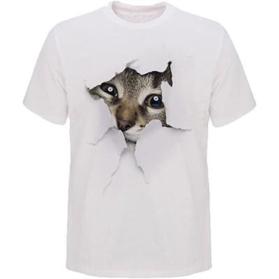 Tシャツ 猫 おもしろ トリックアート カジュアル シンプル ブラックネコ XXXL(NO.4, 3XL)