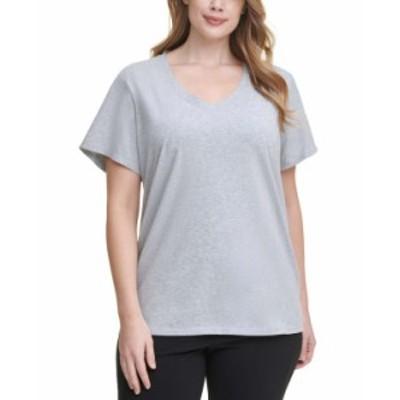 カルバンクライン レディース シャツ トップス Plus Size Logo Patch V-Neck T-Shirt Pearl Grey Heather