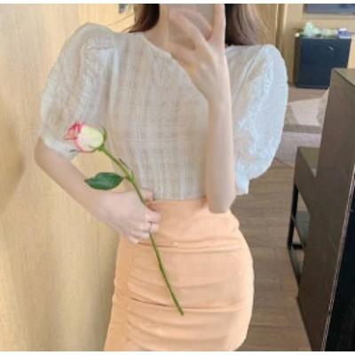 3色 チェック柄 Tシャツ トップス 2way Vネック 半袖 大人可愛い きれいめ 上品 韓国 オルチャン ファッション