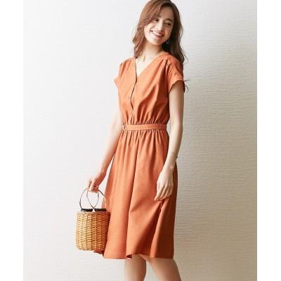 麻調合繊Dカンベルト付ワンピース (ワンピース)Dress