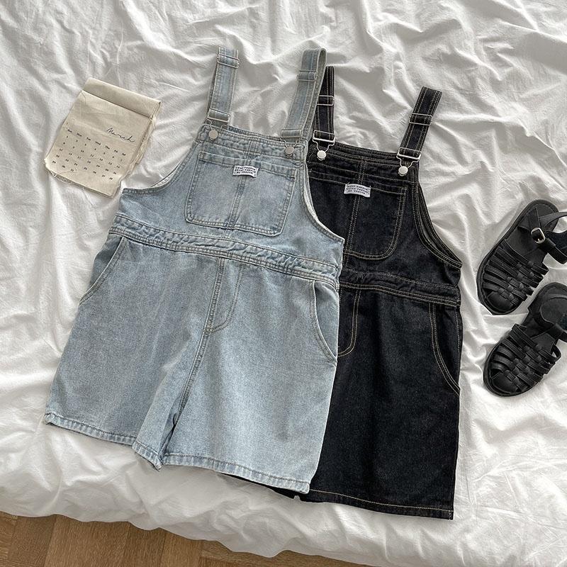 IELGY 牛仔短褲時尚流行女裝2021年夏季新款韓版學院風減齡洋氣背帶褲