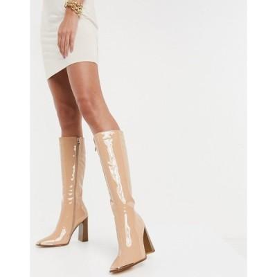 シミシューズ レディース ブーツ&レインブーツ シューズ Simmi London Melisa knee boots with metal plating in beige patent Beige patent