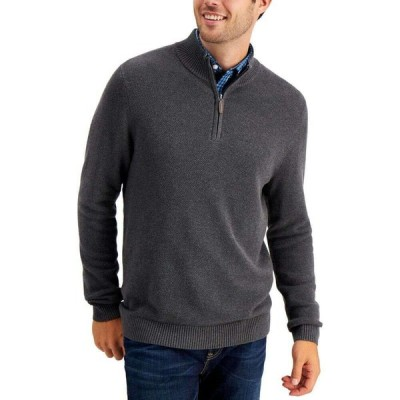 クラブルーム Club Room メンズ ニット・セーター ハーフジップ トップス Quarter-Zip Textured Cotton Sweater Charcoal Heather