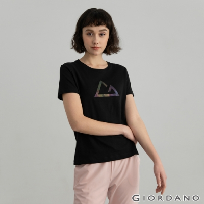 GIORDANO  女裝G-motion快乾棉T恤 - 09 標誌黑