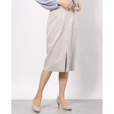 フェイクスエード両ポケタイトスカート (グレージュ)