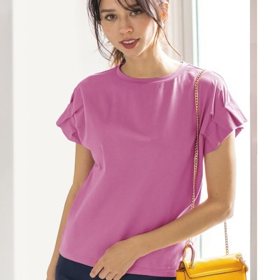 ベルーナ シルケット加工袖タックTシャツ パープリッシュピンク LL レディース