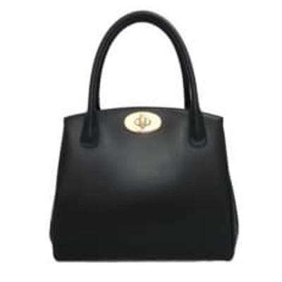 濱野皮革工藝ミカーレトロワハンドバッグ(ブラック×ゴールド金具)