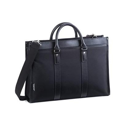 ビジネスバッグ ブリーフケース メンズ 軽量 自立 大容量 大きめ B4 A4 ショルダーベルト 大開き 黒 ブラック 横幅42cm 平野鞄