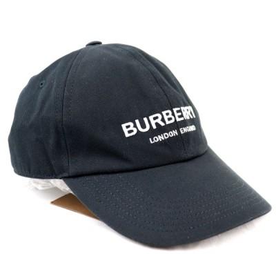 バーバリー BURBERRY ロゴ刺繍 ベースボールキャップ 帽子 コットン S/P 黒 未使用【Z3-9896】