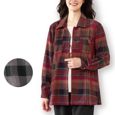 レディース アウター トップス 先染 チェック シャツジャケット 2色組 モノトーン グレー レッド ST2192-80101 ミセス 2枚セット 春 秋