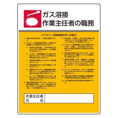 ユニット UNIT 808-09 作業主任者職務板 ガス溶接・アセチレン