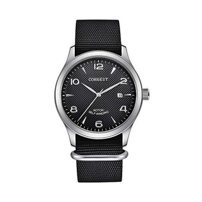 Corgeut Luminous Sapphire Glass Nylon Strap Automatic Mechanical Watch Men,Miyota 8215 Movement (2027D-black) 並行輸入品