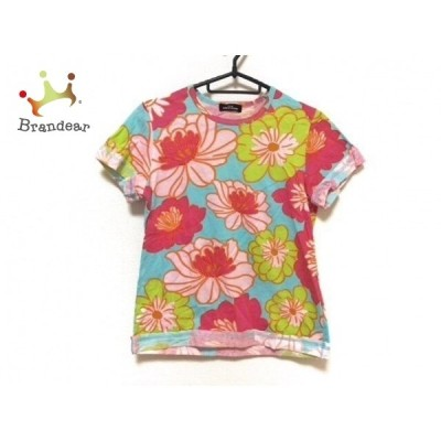 トリココムデギャルソン 半袖Tシャツ レディース 美品 ライトブルー×ピンク×マルチ 花柄 新着 20201007