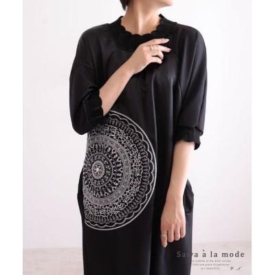【サワアラモード】 レース襟とゴージャス刺繍のブラックワンピース レディース ブラック F Sawa a la mode