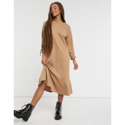 ニュールック レディース ワンピース トップス New Look flute hem sweatshirt midi dress in camel Camel