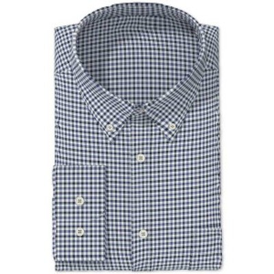 クラブルーム メンズ シャツ トップス Men's Classic/Regular Fit Gingham Check Performance Dress Shirt,  Indigo Navy