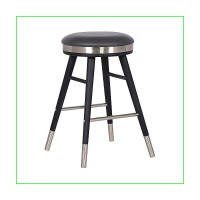 """Armen Living Clara Modern Faux Leather Backless Kitchen Barstool, 26"""" Counter Height, Gray"""