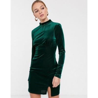 グラマラス ミディドレス レディース Glamorous high neck mini dress with structured bodice in velvet エイソス ASOS グリーン 緑
