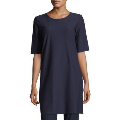 エイリーンフィッシャー レディース ワンピース トップス Petite Half-Sleeve Crepe Shift Dress