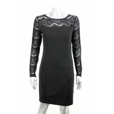 Jessica Simpson ジェシカシンプソン ファッション ドレス Jessica Simpson Black Long-Sleeve Lace-Panel Sheath Dress 4