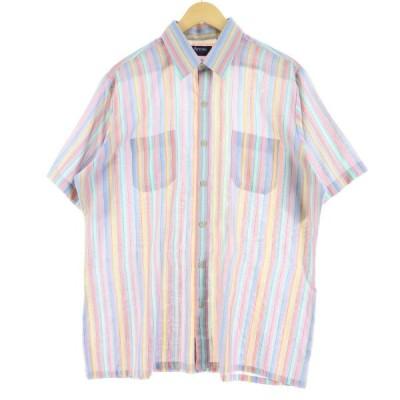 Arrow ストライプ柄 半袖 ポリコットンシャツ メンズL 【中古】 【200620】 /eaa049558