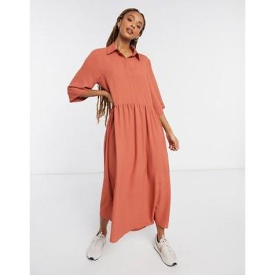 モンキ レディース ワンピース トップス Monki Else midi shirt dress in rust