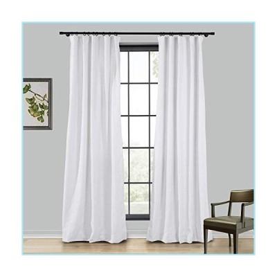新品TWOPAGES Linen Curtain, 96 Inches Long Solid Room Darkening Rod Pocket Curtain Panel, Snow White (1 Panel 50Wx96L)