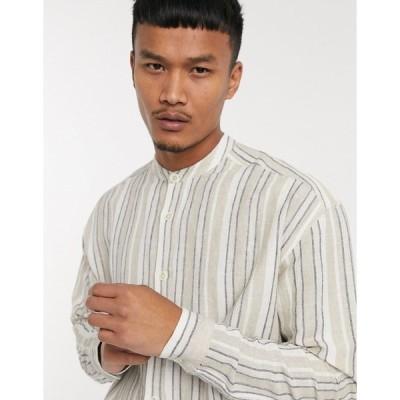 エイソス メンズ シャツ トップス ASOS DESIGN 90s oversized shirt in natural ecru stripe Beige