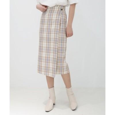 スカート チェック柄 ラップボタン Hラインスカート