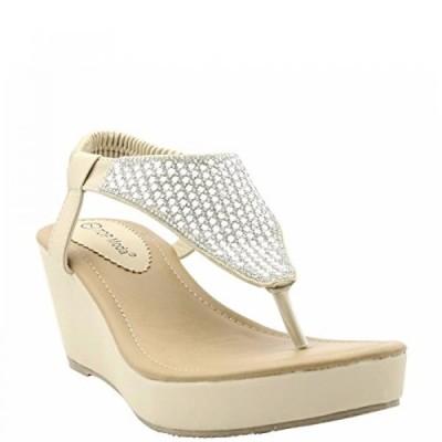 トップモーダ レディース パンプス Top Moda - Women's Rhinestone Slingback T-Sandal Wedge