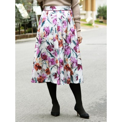 eclat フラワータックギャザースカート