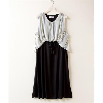【大きいサイズ】 フロントタックドッキングワンピース【stairs】 ワンピース, plus size dress