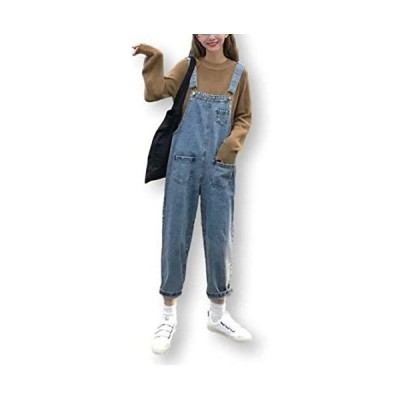 カナエルン7サイズ デニム オーバーオール レディース オールインワン サロペット ポケット付き 体型カバー (ライトブルー M(S相当))