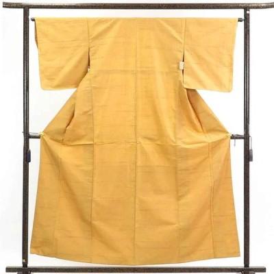 リサイクル着物 紬 正絹黄色地袷紬着物未使用品