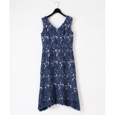 GRACE CONTINENTAL/グレースコンチネンタル 刺繍セミロングドレス ネイビー 36