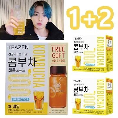 BTS JUNGKOOK 飲用 5gX30 3SET TEAZEN コンブチャ レモン味ブンマル スティック + ボトル レモン味粉末