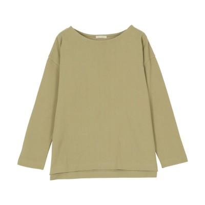 コウベレタス KOBE LETTUCE ゆったり ボーダーシンプルカットチュニック【ノーマルM】 [C3864] (オリーブ)体型カバー Tシャツ ロングTシャツ チュニック 大きめサイズ