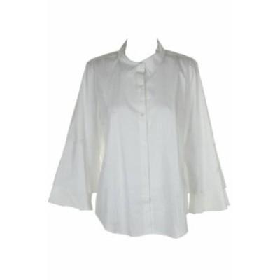Calvin Klein カルバンクライン ファッション アウター Calvin Klein White Tiered Bell-Sleeve Button-Down Shirt XL