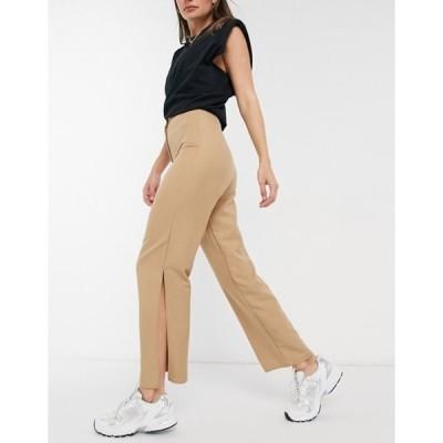 エイソス レディース カジュアルパンツ ボトムス ASOS DESIGN clean slit side wide leg pant in camel