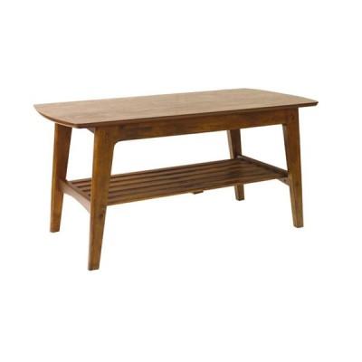 センターテーブル 棚付き 幅105cm 送料無料 収納 ナチュラル シンプル 北欧 西海岸 机 リビングテーブル 家具 木製 天然木 ウォールナット レトロ 一人暮らし