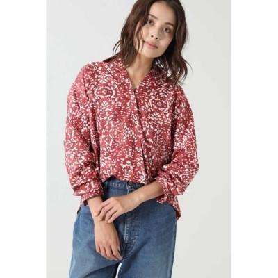 ROSE BUD/ローズ バッド グラフィックプリントラップシャツ レッド -